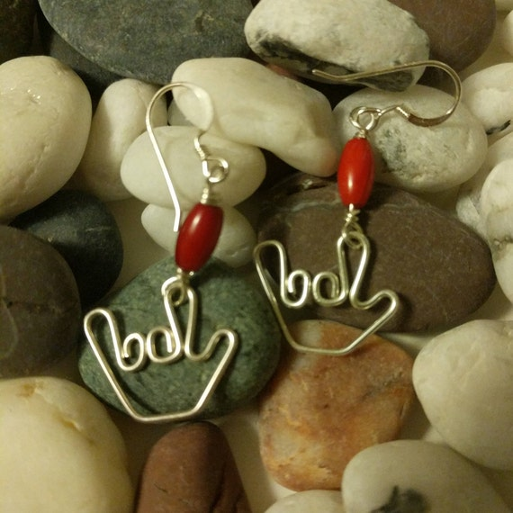 red and i love you earrings