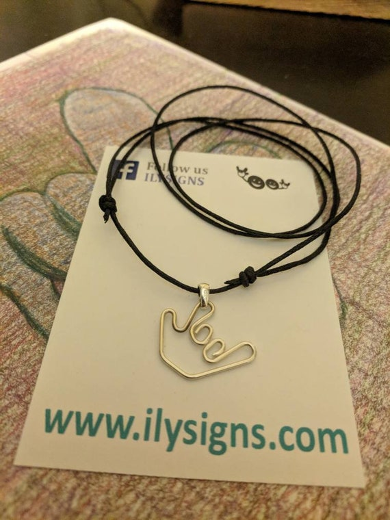 Sign Language Necklace - Black Cord - Handmade