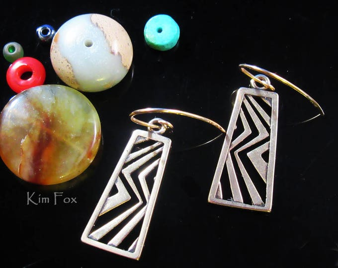 KFE50 Higher Ground Dangling Earring in Golden Bronze and Silver by Kim Fox
