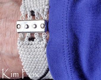 Beaded Rectangular 4 strand Magnetic Clasp designed by Kim Fox