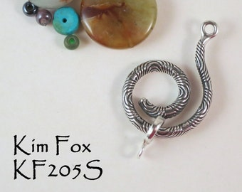 Spiral Clasp and/or bail in Silver and Golden Bronze with Chartres Pattern designed by Kim Fox