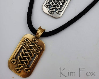 KFP374 Celtic Tabular Pendant for men or women in Sterling Silver or Golden Bronze - Two Sided - 2 1/8 by 1 1/8 inches or 55 by 30 mm