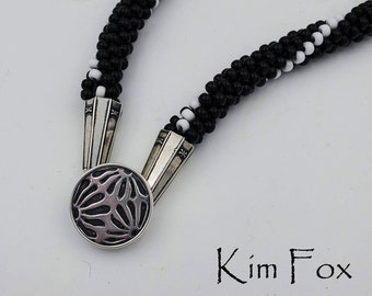 KF352 Asian Style Removable Loop Clasp in Silver or Golden Bronze designed by Kim Fox - Depicting Flower Petals in a Round Shape