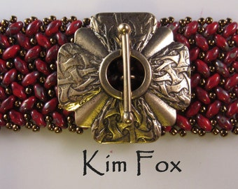 KF297 Larger Brocade Scallop Shape 4 strand  in Silver  or Bronze by Kim Fox