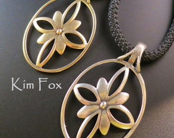 Infinite Flower Pendant in Golden Bronze and Sterling Silver designed by Kim Fox