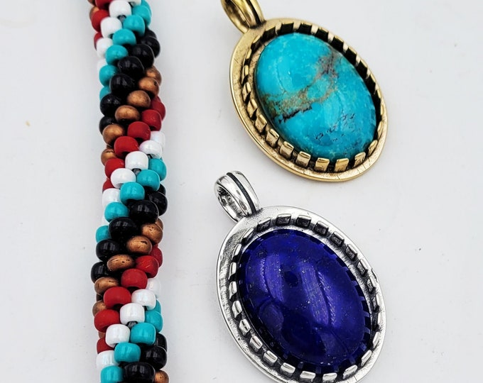 KFP455 18x25 Bail with adjustable hook designed by Kim Fox available in sterling silver or golden bronze. Set your own stone or bead easily