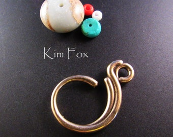 Wave Bail in Bronze - Two Sided - One inch and an eighth - Designed by Kim Fox