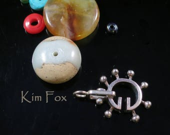 Round Steampunk Style Slot Clasp in Golden Bronze   or Sterling Silver designed By Kim Fox