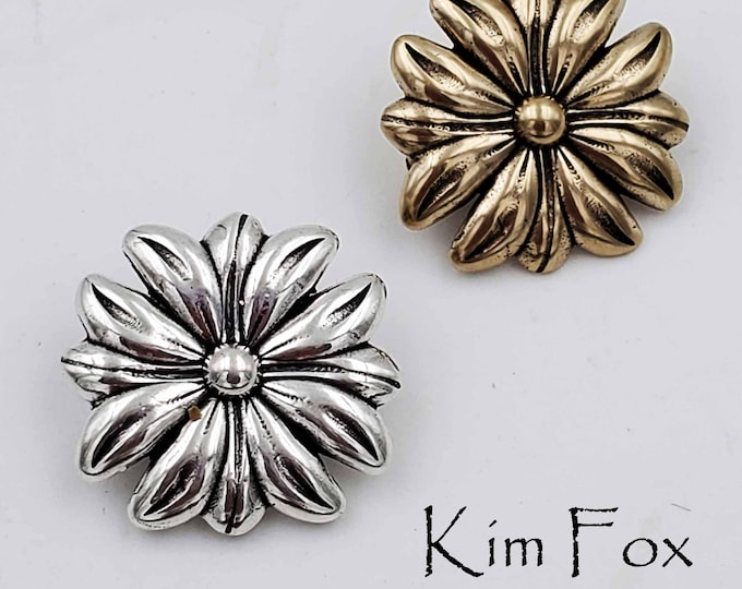 Petite Daisy Element with Hooks in Silver and Golden Bronze designed by Kim Fox