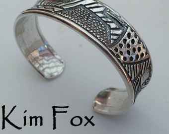 KFB43 The Doodle or Zentangle Cuff in Bronze - Designed from Doodles made by Kim Fox and made into an adjustable cuff