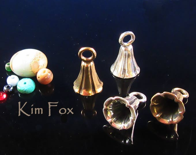 KF343 A Pair of Bell Shaped Glue In Cones with large loop in Sterling Silver and Golden Bronze designed by Kim Fox