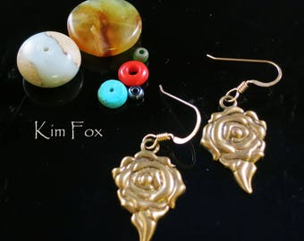 Dimensonal Rose Earring in Sterling Silver Golden Bronze designed by Kim Fox  1.5 inches by .5 inches in size with wire.