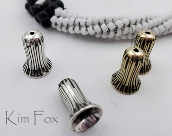 KF252 Small Trumpet Flower 12mm/Grooved Cone/Bead Cap Pair Sterling Silver-or bronze  for a bracelet, earring or petite necklace by Kim Fox