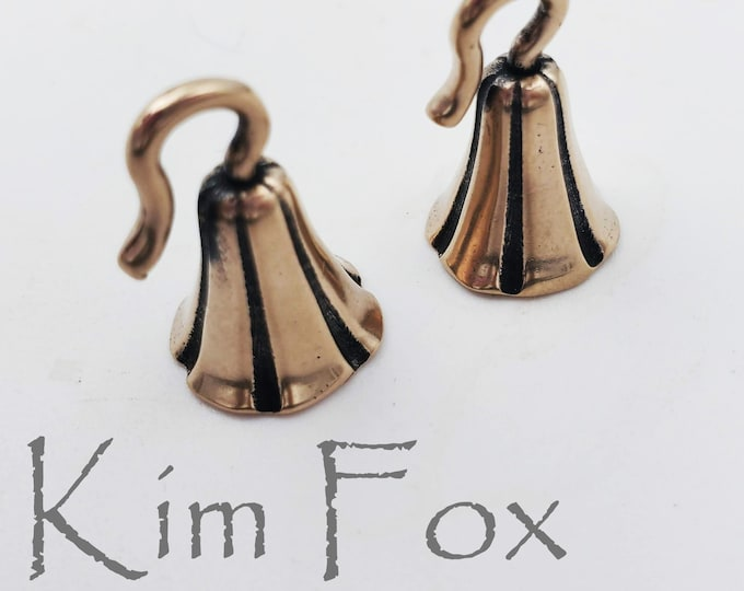 KF408 IN RED BRONZE  A Pair of Bell Shaped Glue In Cones with hook designed by Kim Fox