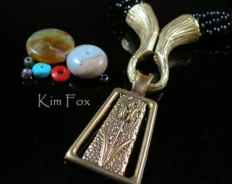 KF 329 Magnetic Clasp/Cone/Bail Combination by Kim Fox in Golden and White Bronze with Bark Texture