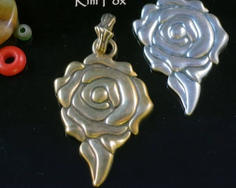 Romantic Rose Pendant in Sterling Silver and Golden Bronze designed by Kim Fox