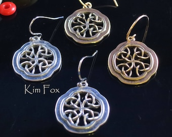 KFE360 Celtic Window Earrings in Sterling Silver or Golden Bronze with Gold Filled Ear Wires designed by Kim Fox