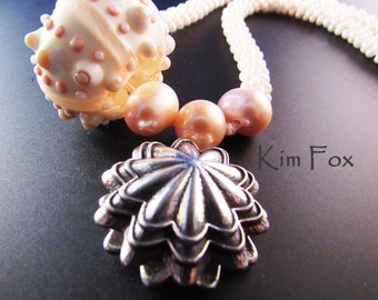 Scallop Magnetic Clasp with 3 loops suitable for kumihimo, bead crochet, bead weaving, designed by Kim Fox in bronze and silver