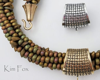 KF415 Large Basketweave Pattern Bail in Sterling Silver and Golden Bronze by Kim Fox