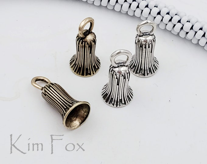 KF444 Drum Flower Cone with Loop in Sterling Silver or Golden Bronze