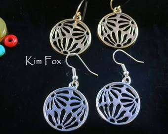 Asian Inspired Round Pierced Floral Earrings in Bronze and Sterling Silver designed by Kim Fox