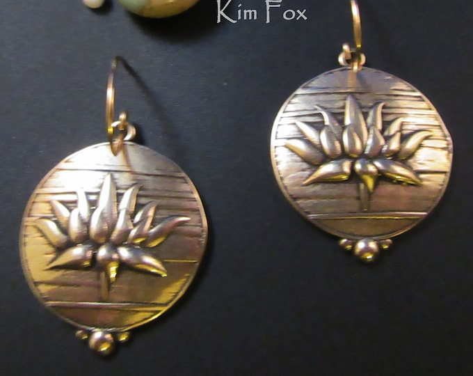 KFE373 Lotus Bloom Earrings in Sterling Silver or Golden Bronze designed by Kim Fox 1 by 1.25  inch drop or 25 by 30mm