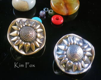 Sunflower Loop Clasp in Bronze and & Sterling Silver  for kumihimo, chain mail, wire wrapping - multiple connectors designed by Kim Fox
