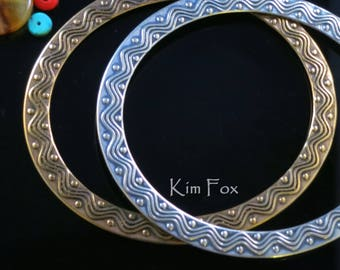 9 inch oval Wave and Dot Bangle in Golden Bronze and Silver by Kim Fox