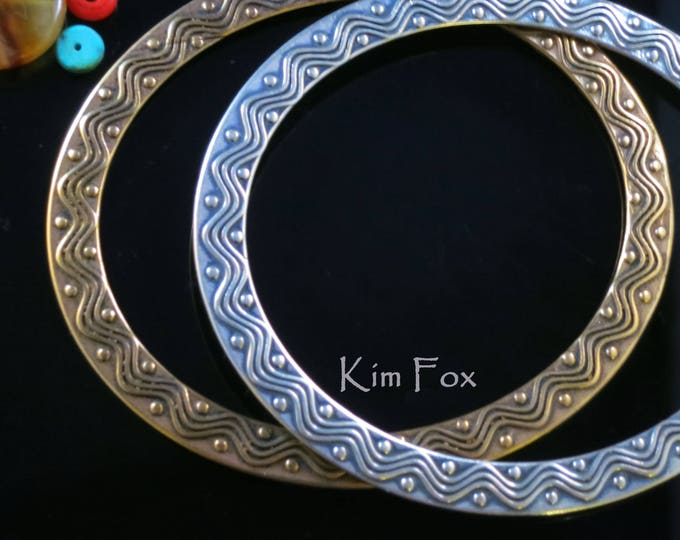 KFB3 Bangle for wrist 9 inch oval Wave and Dot Bangle in Golden Bronze and Silver by Kim Fox