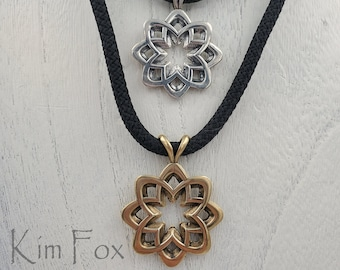 KFP15 Desert Flower Pendant in Silver or Bronze Two sided pendant  8 petals with open cut layout - abstract flower rounded with openings