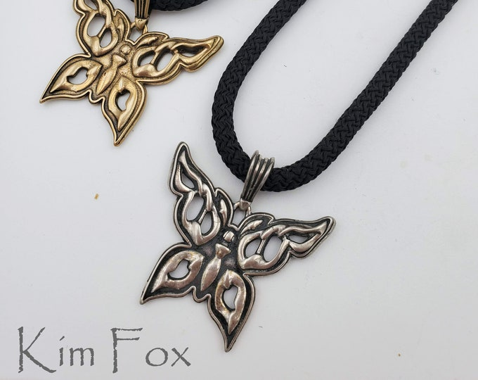 KFP377 Butterfly Pendant in Sterling Silver or Golden Bronze on 5 mm black braided cord designed by Kim Fox 40mm x 40mm in size