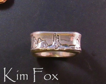 Sedona Ring - the skyline of Sedona surrounds this rounded square unisex ring designed by Kim Fox