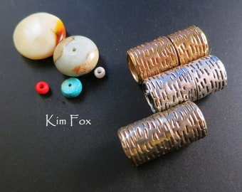 Textured Lipstick Style Magnetic Clasp in Bronze, White Bronze and Sterling Silver designed by Kim Fox