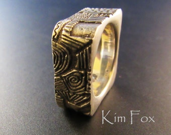 Doodle or Zentangle Rounded Rectangle Ring designed by Kim Fox in Sterling Silver