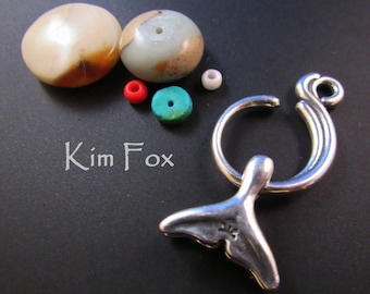 KF374 Whale Tail and Wave Slot Clasp suitable for kumihimo, wirewrapping, chain mail, stringing in silver designed by Kim Fox