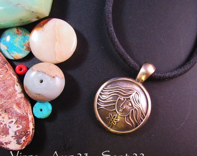 KFP171 Round Virgo Pendant - Aug 23 Sept 23 - in Golden Bronze or Sterling Silver- round pendant with generous bail - young girl with flower