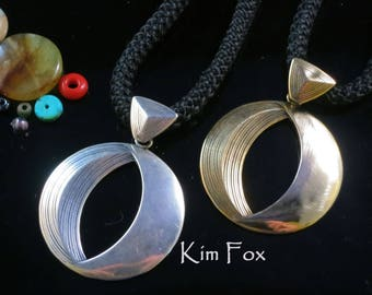 KFP11 Phases of the Moon Pendant in Sterling Silver or Golden Bronze designed by Kim Fox
