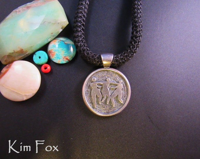 Three Graces in Silver round pendant with a generous 5 mm bail designed by Kim Fox - Faith - Hope and Charity