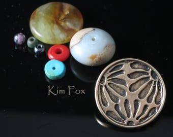 Asian Style Removable Loop Clasp in Silver or Golden Bronze designed by Kim Fox - Depicting Flower Petals in a Round Shape