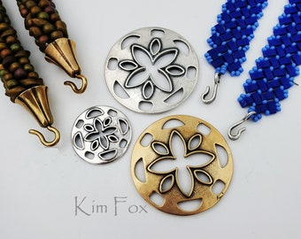 KF265 and KF243 Large and Small Cut Flower used for clasp/pendant/earring finding in silver and bronze designed by Kim Fox