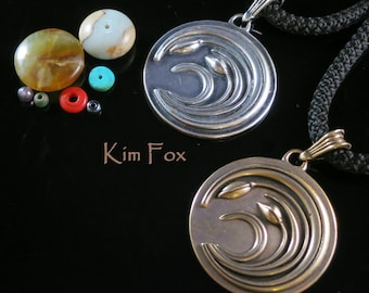 Asian Wind Pendant in Sterling Silver or Golden Bronze based on a Japanese Code of Arms called a Mon designed by Kim Fox