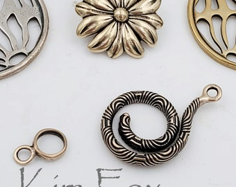 KF205RB  RED BRONZE Chartres Spiral Clasp designed by Kim Fox- designed to be clasp and bail