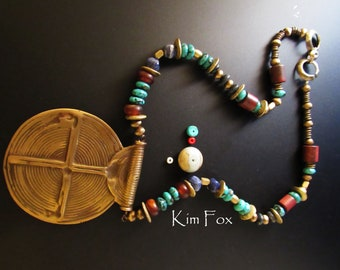 African Bronze Pendant Necklace with turquoise, dumortierite, jasper, amber & hand formed African beads with clasp designed by Kim Fox
