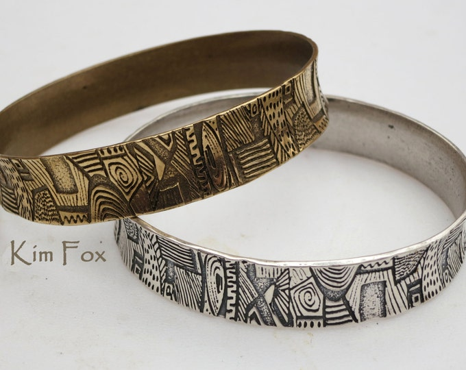 KFB 25 Doodle or Zentangle Bangle in Bronze or Silver for an 8 inch hand - medium sized - wide and substantial