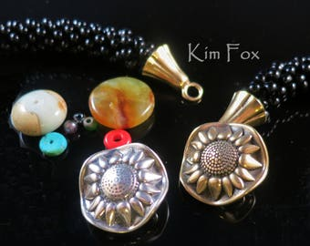 KF337 Sunflower Loop Clasp in Bronze and & Sterling Silver  for kumihimo, chain mail, wire wrapping - multiple connectors by Kim Fox