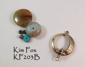 KF203 Round Silver and  Bronze Slot Clasp of the Moon and Morning Star, lunar and star symbol clasp suitable for necklace by Kim Fox