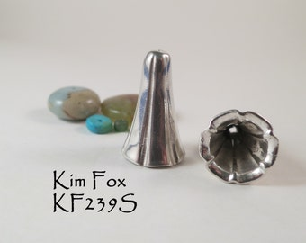 A pair of Large Bell Flower Cones in Silver or bronze substantial tapered cones - suitable for kumihimo or multistrand jewelry by Kim Fox