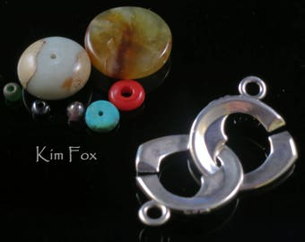 Larger Heart Shaped Sister Hook Clasp in Sterling Silver or Golden Bronze by Kim Fox - Secure and Simple