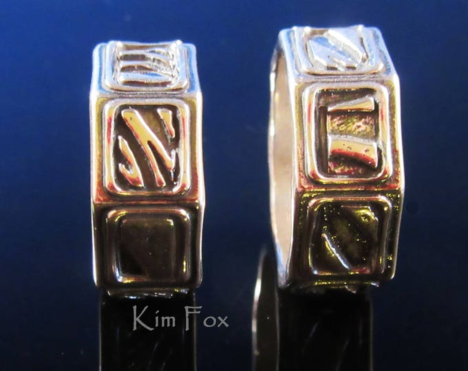KFR316 Geo Ring - 8 sided band ring with 8 different designs - unisex - designed by Kim Fox in Sterling Silver