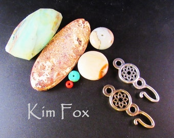 KF399 Desert Flower Single Hook in Sterling Silver or Golden Bronze designed by Kim Fox